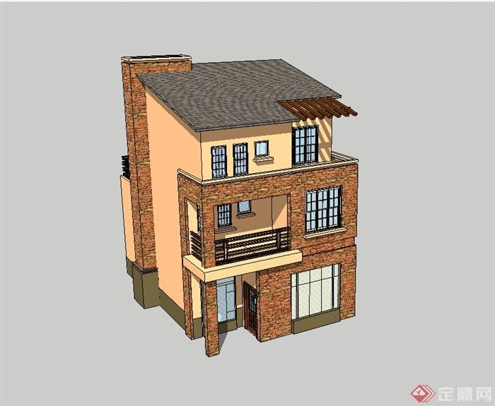 欧式风格多层独栋别墅建筑设计su模型[原创]