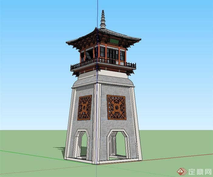 某古典中式塔楼设计su模型[原创]
