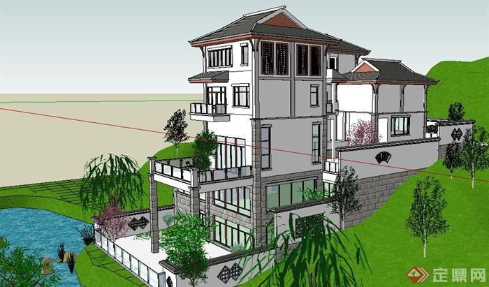 现代新中式山地别墅住宅建筑设计su模型(3)图片