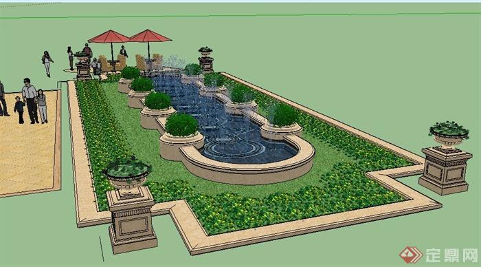 欧式喷泉水池景观su模型[原创]