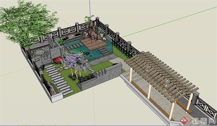 某中式别墅庭院景观设计su模型