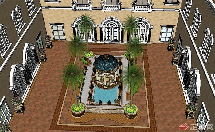某欧式风格酒店庭院景观设计su模型[原创]