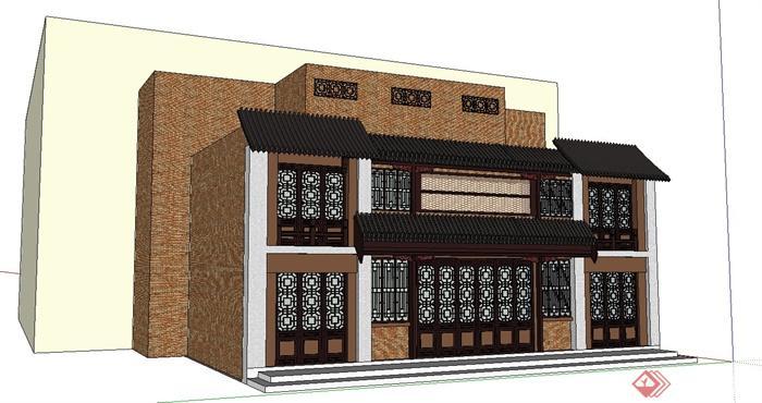 某现代中式风格酒楼门头门面建筑设计SU模型,附件包含SU模型,模型制作细致,有材质贴图,具有一定的参考使用价值,有需要的朋友可自行下载使用。