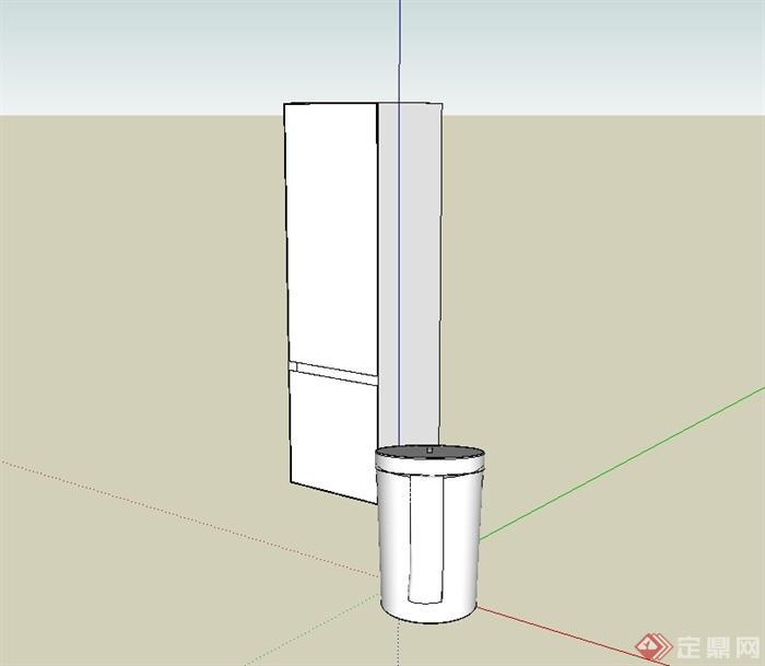 现代冰箱垃圾桶设计su模型[原创]