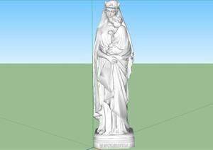 某欧式风格雕塑小品设计SU(草图大师)模型