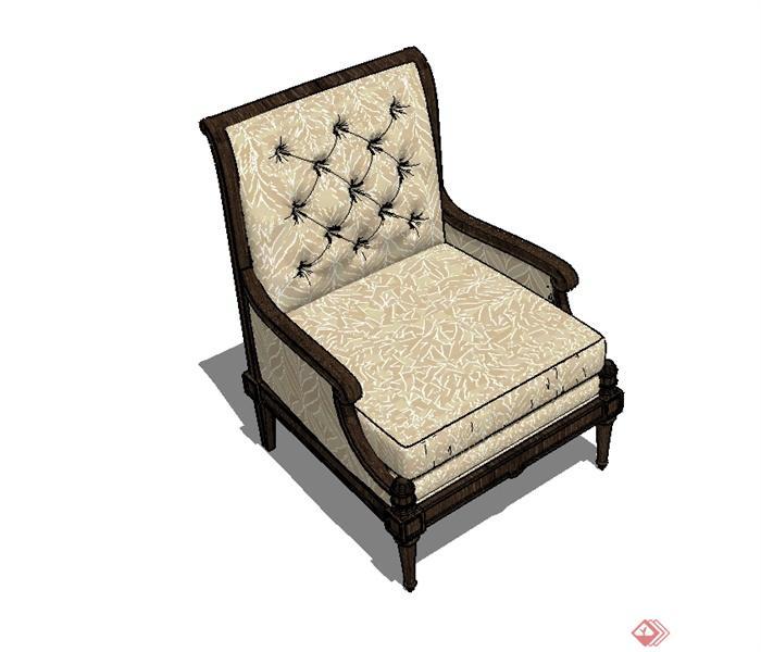 某歐式風格精致詳細沙發椅設計su模型(1)