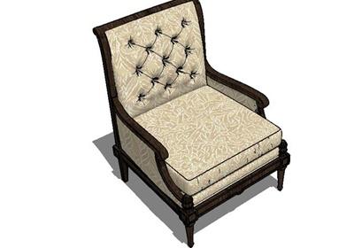 某欧式风格精致详细沙发椅设计su模型