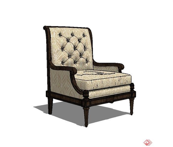 某歐式風格精致詳細沙發椅設計su模型(2)