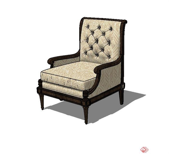 某歐式風格精致詳細沙發椅設計su模型(3)