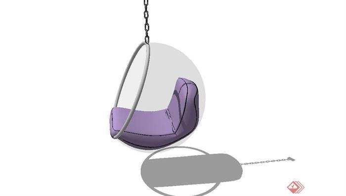 圆形吊顶沙发座椅设计su模型(3)