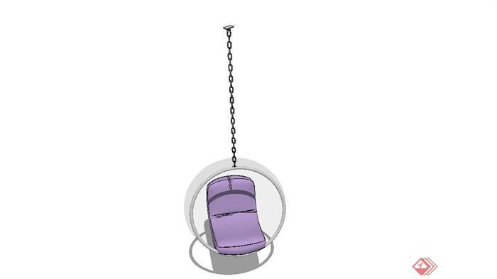 圆形吊顶沙发座椅设计su模型(4)