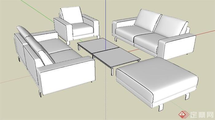 现代简约组合沙发设计su模型(白模)(2)