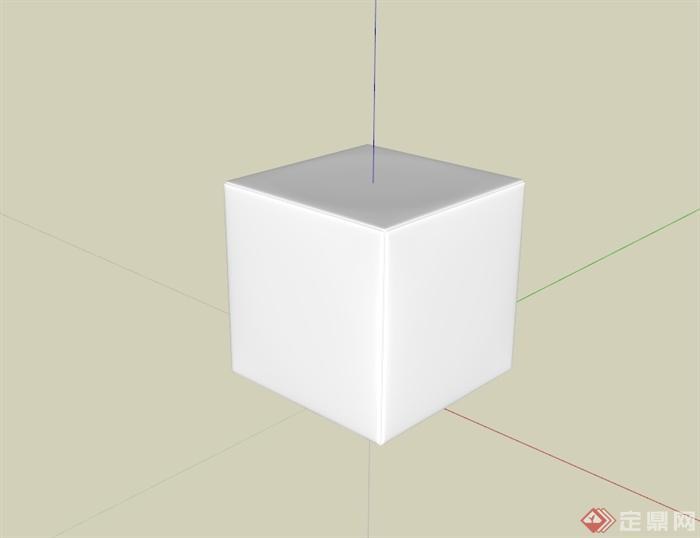 某现代风格正方体坐凳设计su模型[原创]