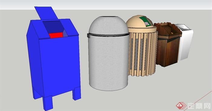垃圾桶模型设计合集su模型[原创]