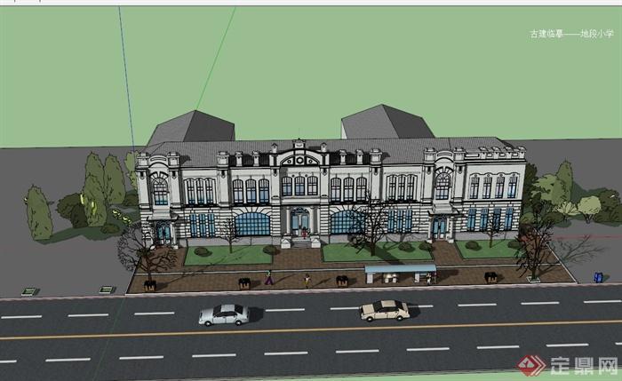 某欧式风格多层小学建筑楼设计su模型[原创]