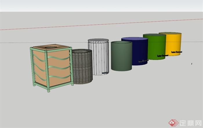 多现代风格垃圾桶设计su模型[原创]
