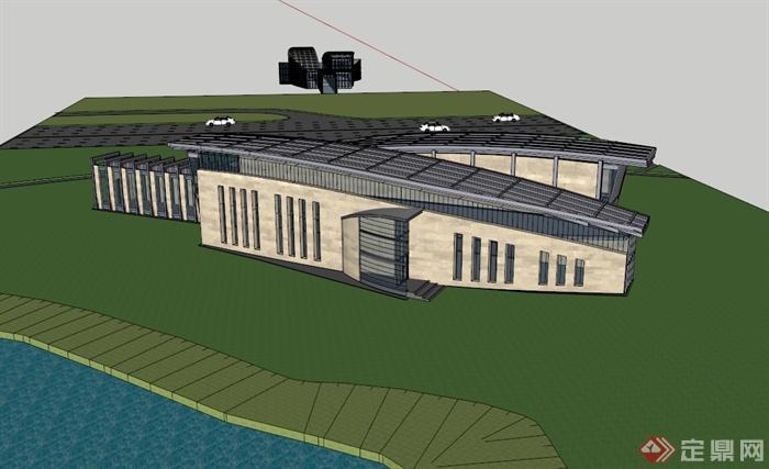 某现代风格两层办公楼设计su模型,模型为现代风格,模型制作详细精致完整,模型有材质贴图,具有一定的使用价值,有需要请下载使用。