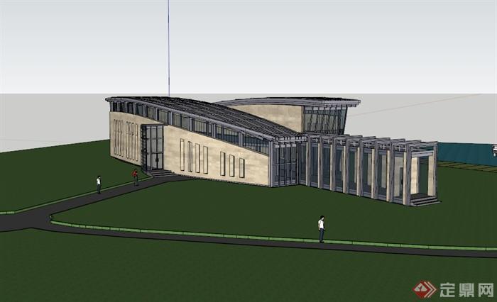 某现代风格两层办公楼设计su模型(3)