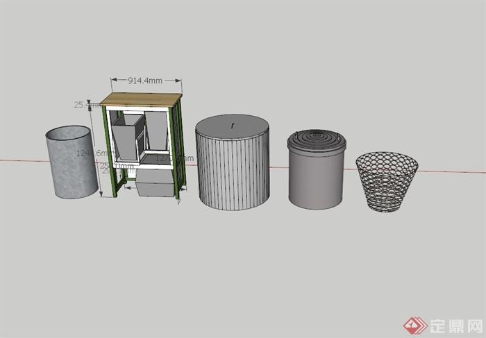 某现代风格五个垃圾桶设计su模型[原创]