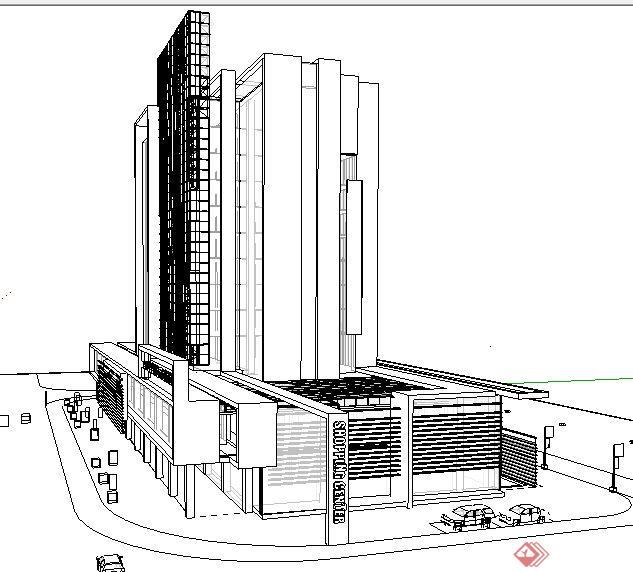 现代商场及办公楼建筑设计su模型(2)