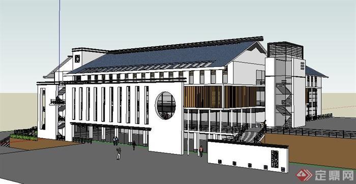 现代新中式风格食堂建筑设计su模型(2)图片