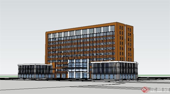 現代風格小高層辦公樓建筑體設計su模型(1)