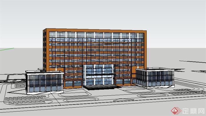 現代風格小高層辦公樓建筑體設計su模型(2)