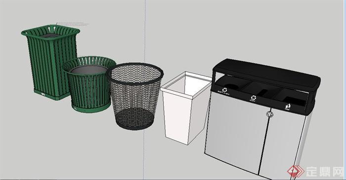 5款造型各异垃圾桶设计su模型[原创]