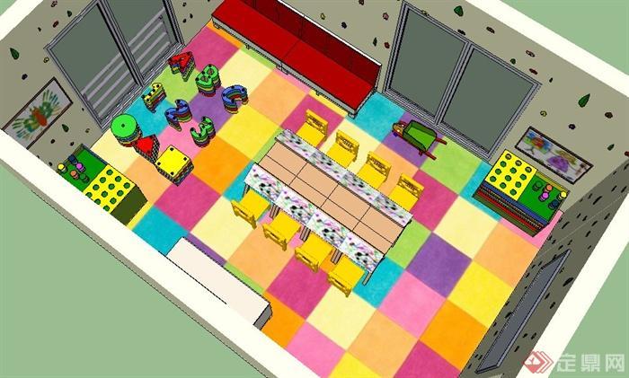 现代风格幼儿园教室室内设计su模型(1)