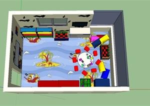 现代风格幼儿园教室室内装饰设计SU(草图大师)模型