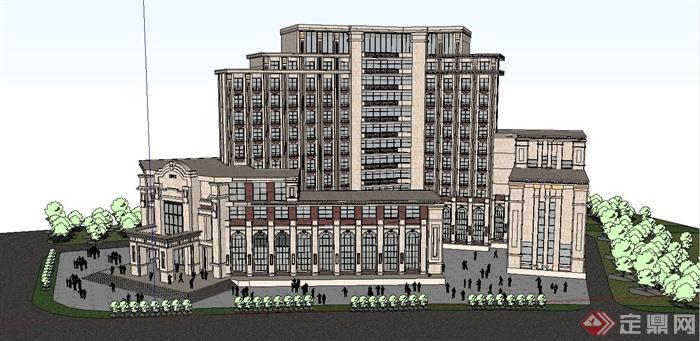 某精致新古典风格政府办公大楼建筑设计su模型(2)