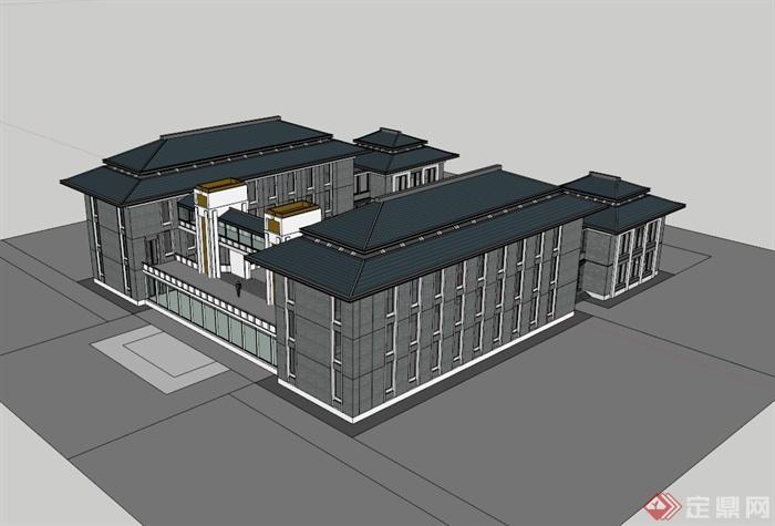 新中式风格带连廊的办公楼建筑设计su模型[原创]