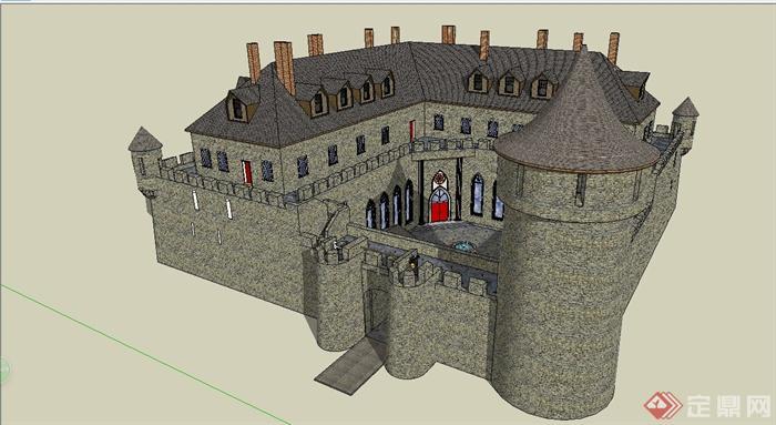 某欧式风格城堡别墅建筑设计su模型[原创]