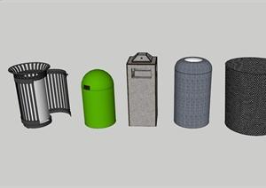 现代风格多种垃圾桶设计SU(草图大师)模型