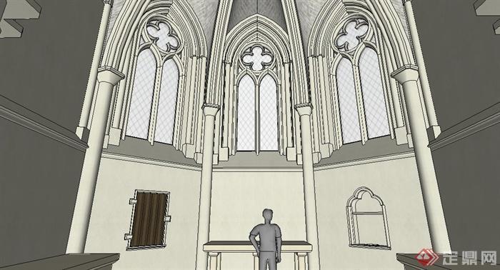 欧式风格教堂室内设计su模型[原创]