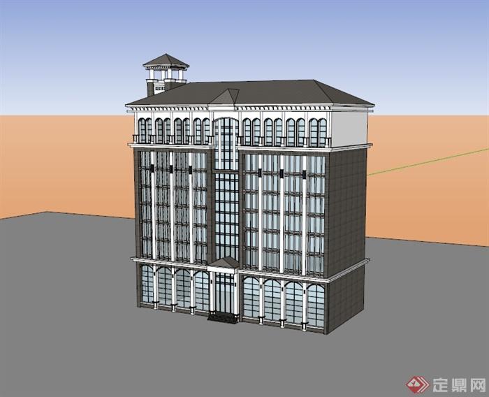 某欧式风格多层办公楼建筑设计su模型[原创]