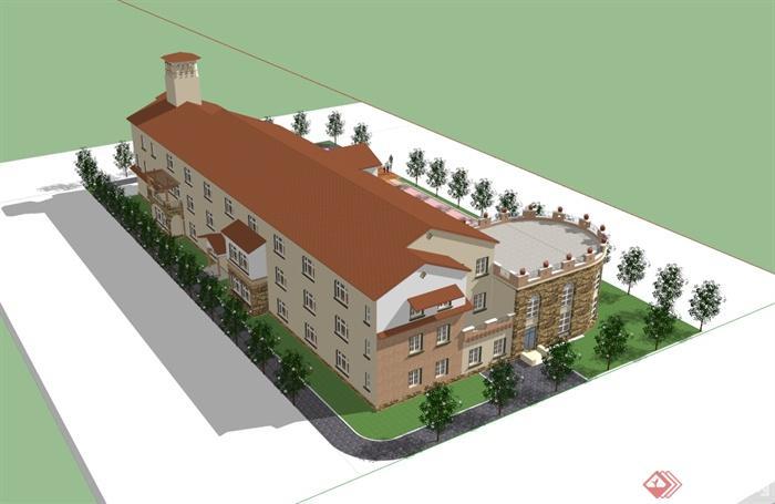 某欧式风格详细精致幼儿园建筑楼设计su模型[原创]