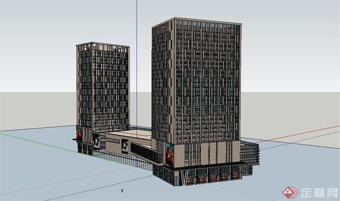 某现代商业办公建筑大楼设计su模型[原创]