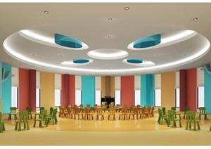 现代风格幼儿园教室空间设计3d模型