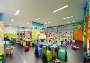 某现代风格幼儿园教室设计3d模型