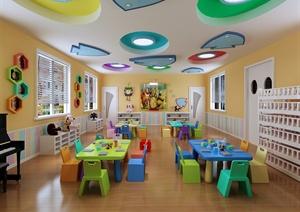 现代风格室内幼儿园空间设计3d模型