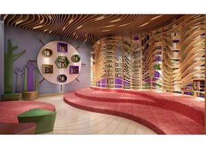某现代风格详细精致图书室设计3d模型