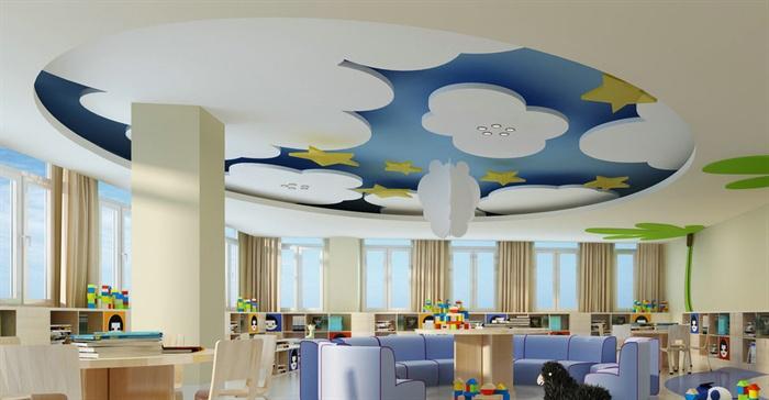 可爱风幼儿园阅读室室内设计3dmax模型,包括书柜,桌椅组合,吊顶等