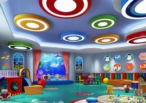 某现代风格幼儿园游乐空间设计3d模型