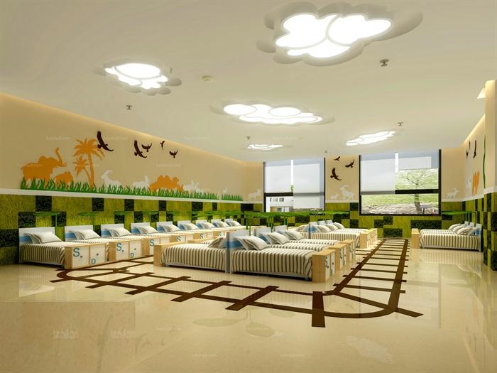 现代风幼儿园休息室室内设计3dmax模型图片