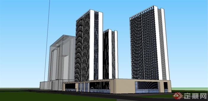 现代风格高层办公楼建筑su模型设计[原创]