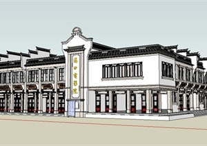 某现代中式风格电影院建筑设计SU(草图大师)模型