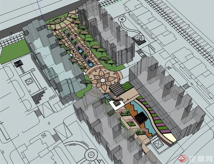 欧式风格详细住宅中庭景观设计su模型[原创]