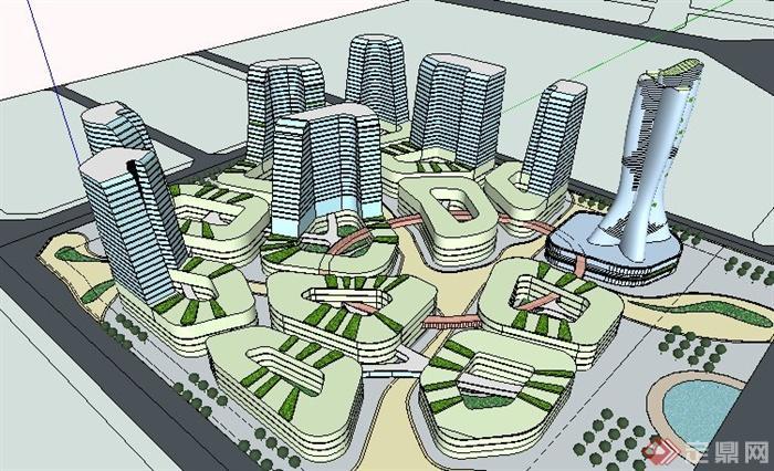 现代城市综合体建筑概念设计su模型[原创]