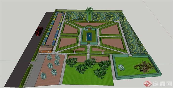 某欧式风格规则式公园节点景观设计su模型[原创]